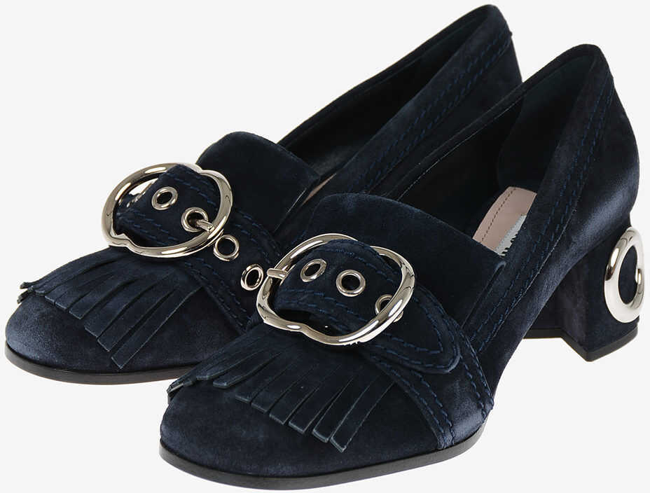 Miu Miu Suede Loafers 6 cm BLUE