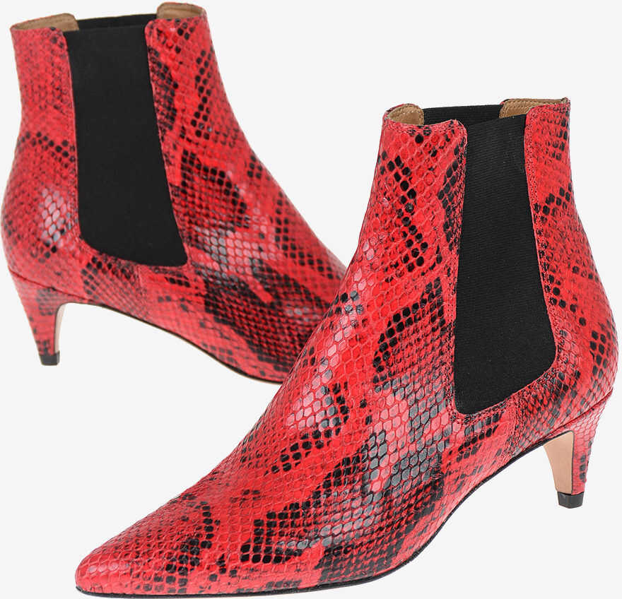 Isabel Marant Snake Printed Leather DETTY Pull On Booties 6 cm RED