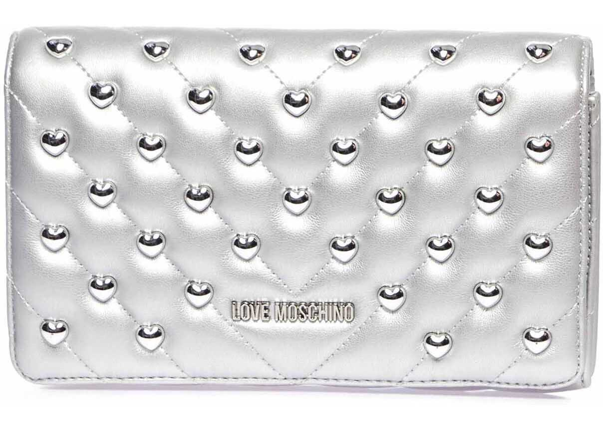 LOVE Moschino Crossbody bag with stud detail Silver