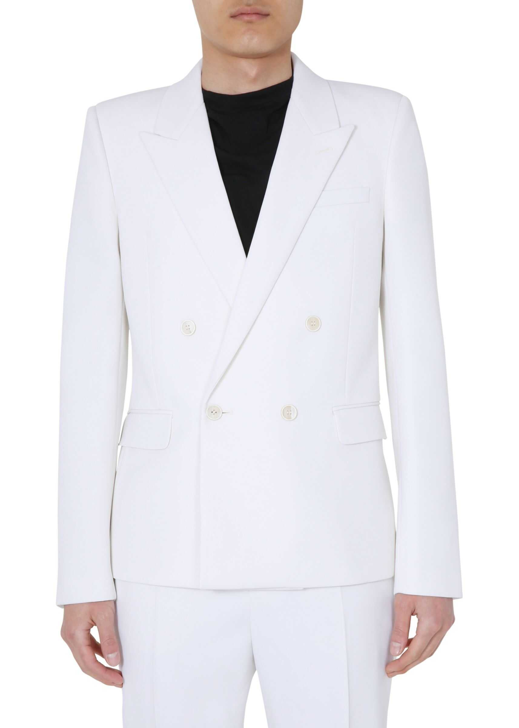 Saint Laurent Double Breasted Jacket WHITE imagine