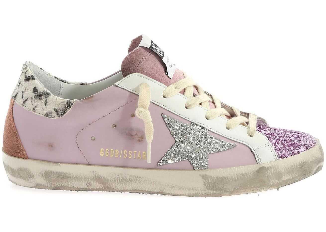 Golden Goose Superstar Pink Sneakers With Rhinestones Pink