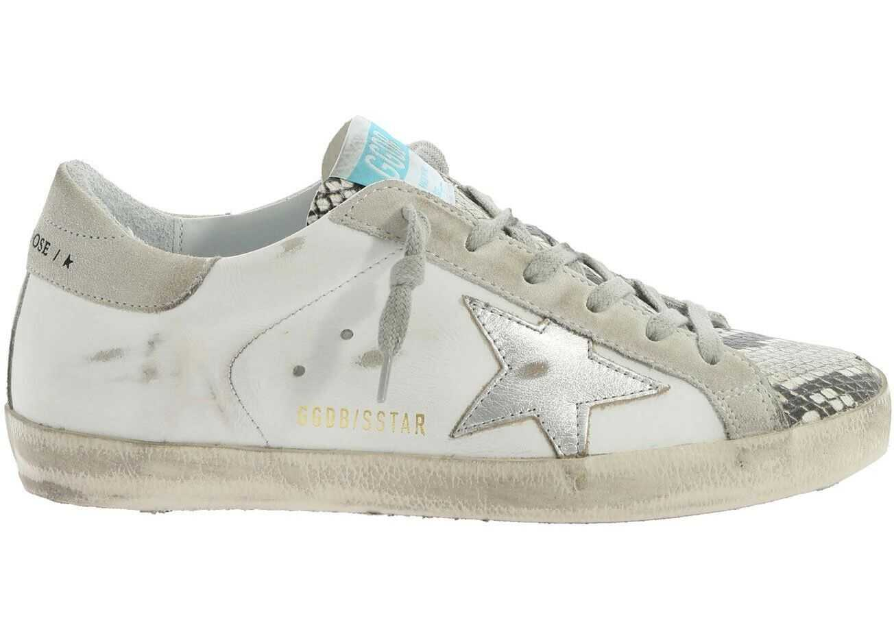 Golden Goose Reptile Details Sneakers In White White