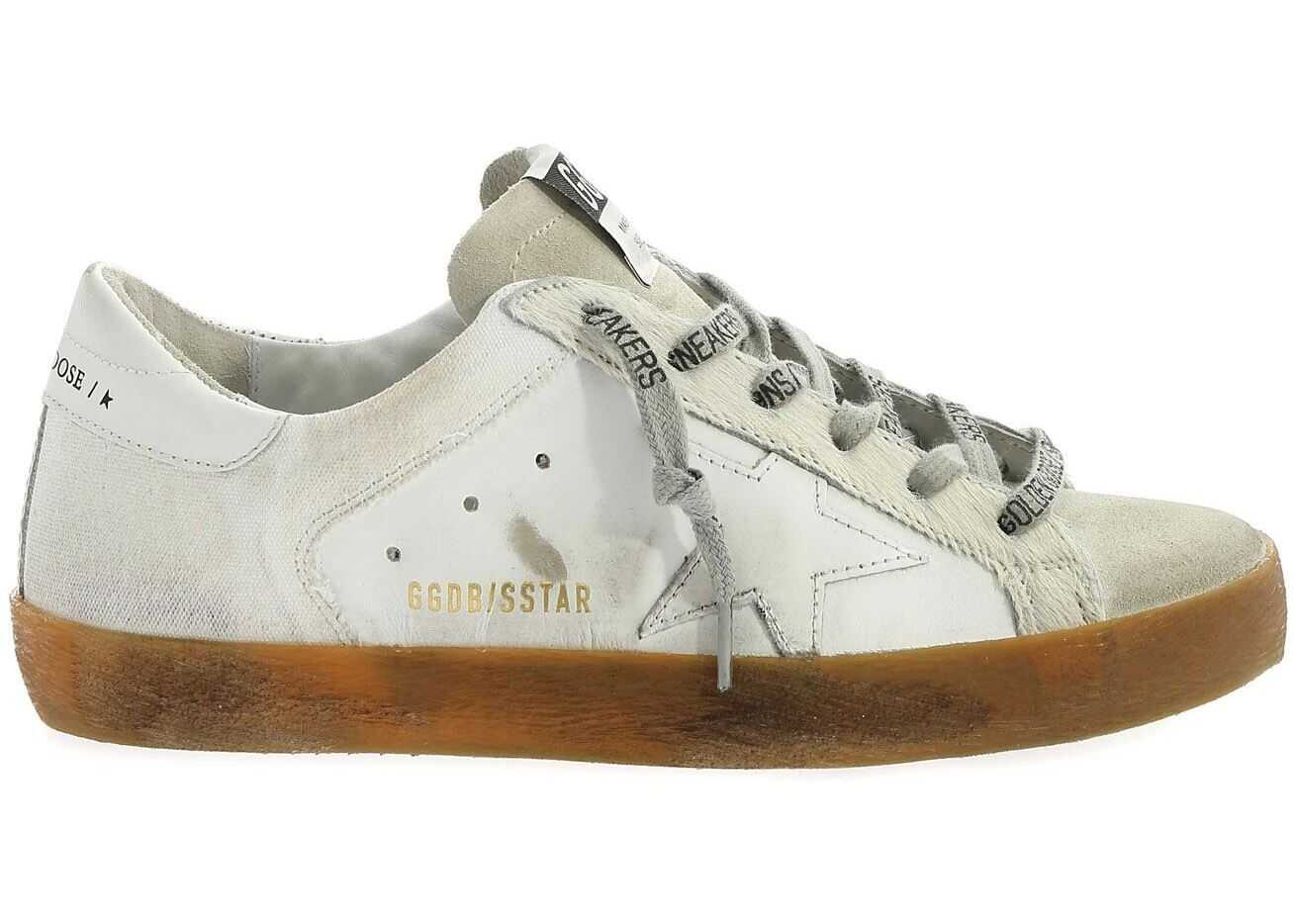 Golden Goose Superstar White Sneakers With Calf Hair Detail White