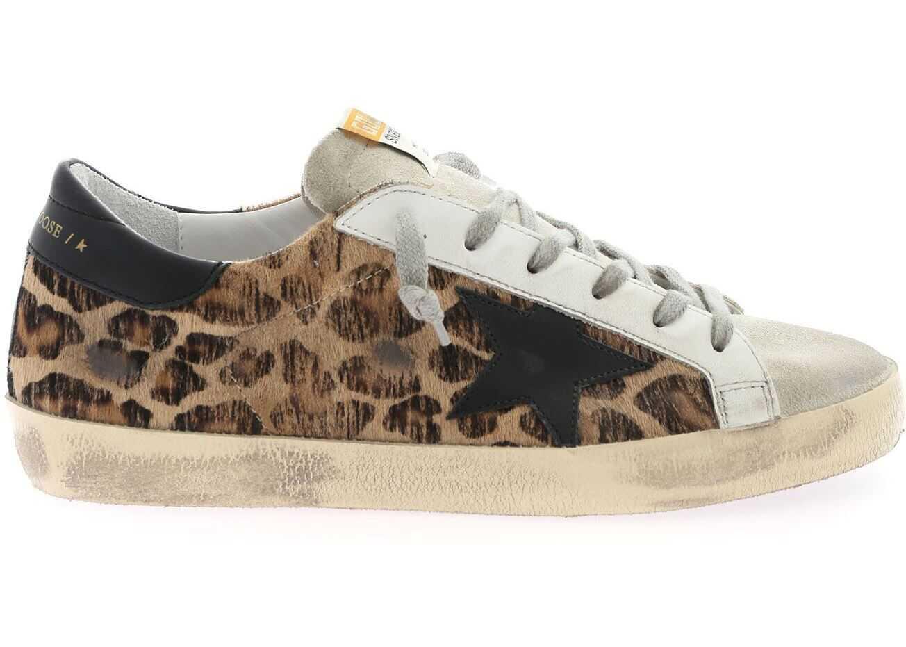 Golden Goose Superstar Animalier Sneakers With Black Star Brown