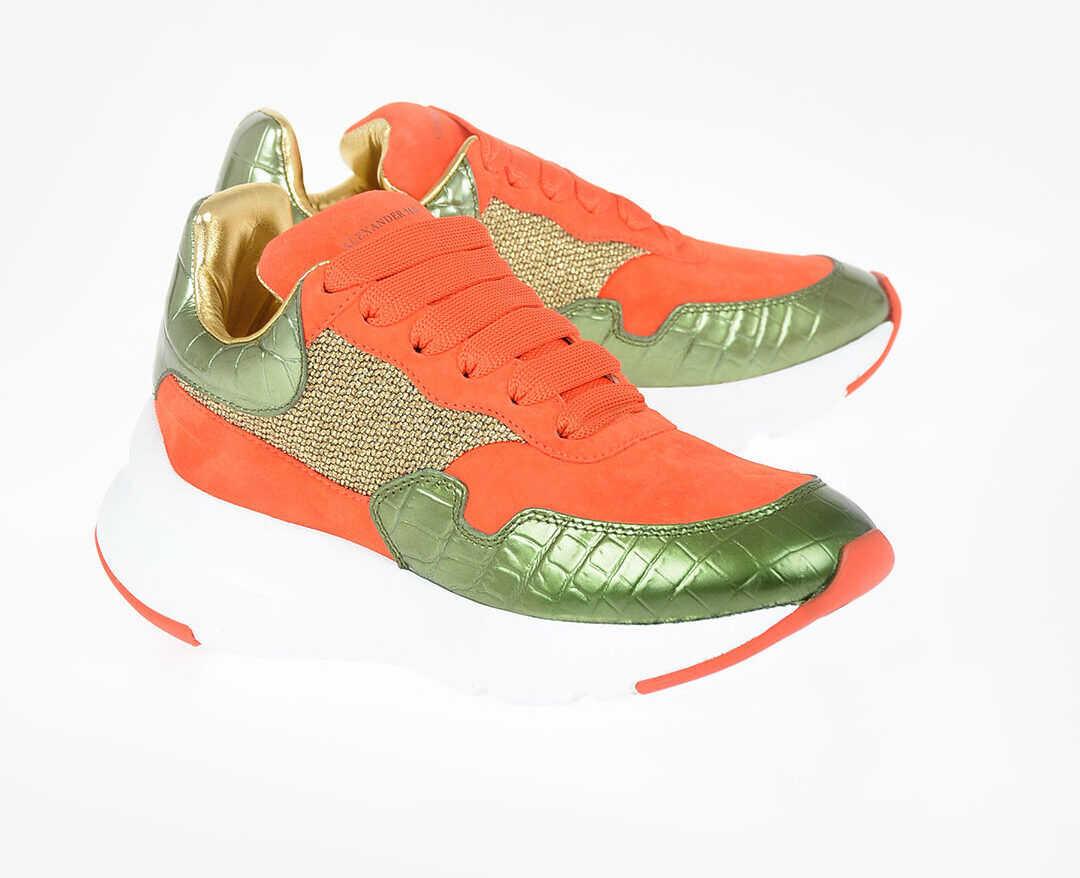 Alexander McQueen Leather OVERSIZED RUNNER Sneakers ORANGE
