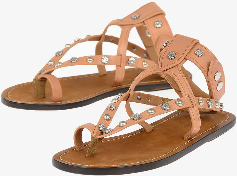 Isabel Marant Studded Leather ENGO Thong Sandals BROWN