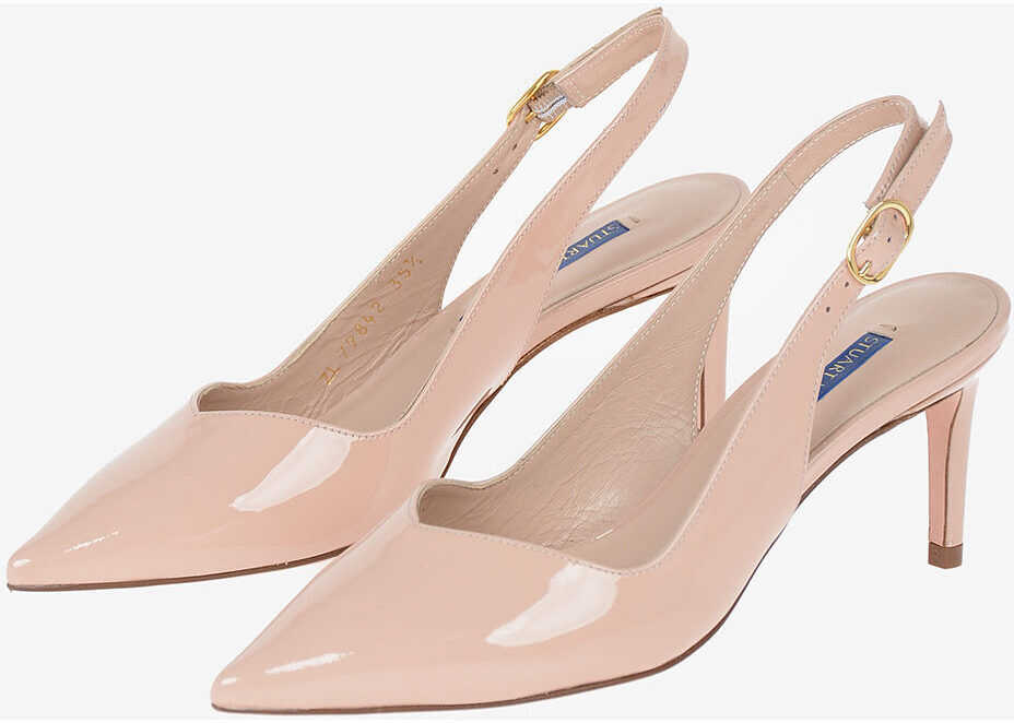 Stuart Weitzman Lacquered Leather EDITH 70 Slingbacks 7 cm PINK