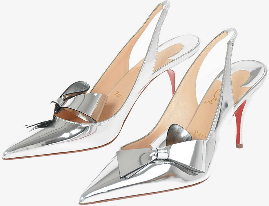 Christian Louboutin Mirrored Leather CLARE NODO Slingbacks 9 cm SILVER