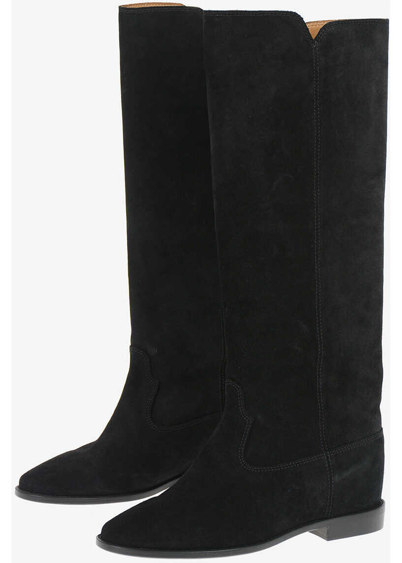 Isabel Marant Knee High CLEAVE Suede Boots BLACK