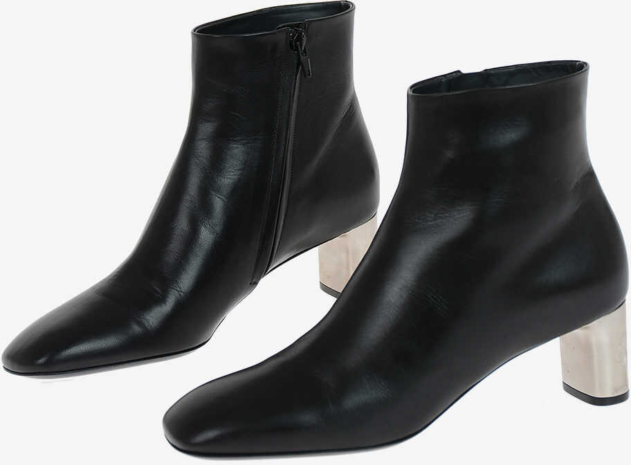 Céline Leather Booties 5 cm BLACK