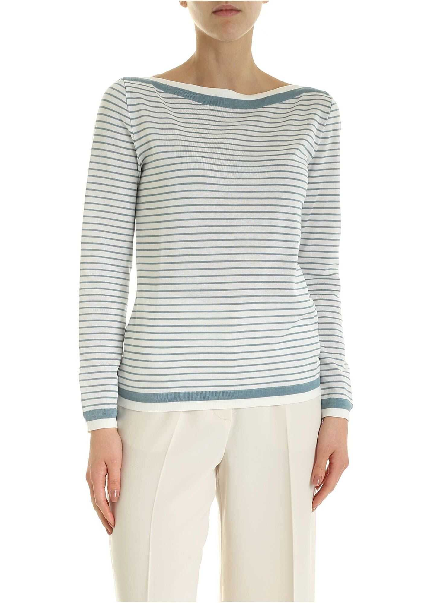 Max Mara Ugolina Sweater In White And Pale Blue Color White