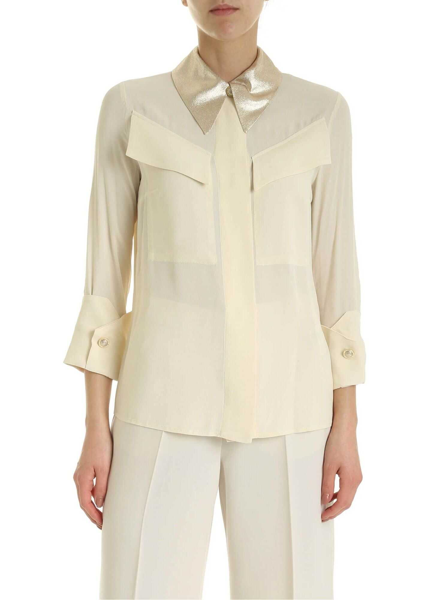 Elisabetta Franchi Shirt In Cream-Colored With Lamè Detail Cream