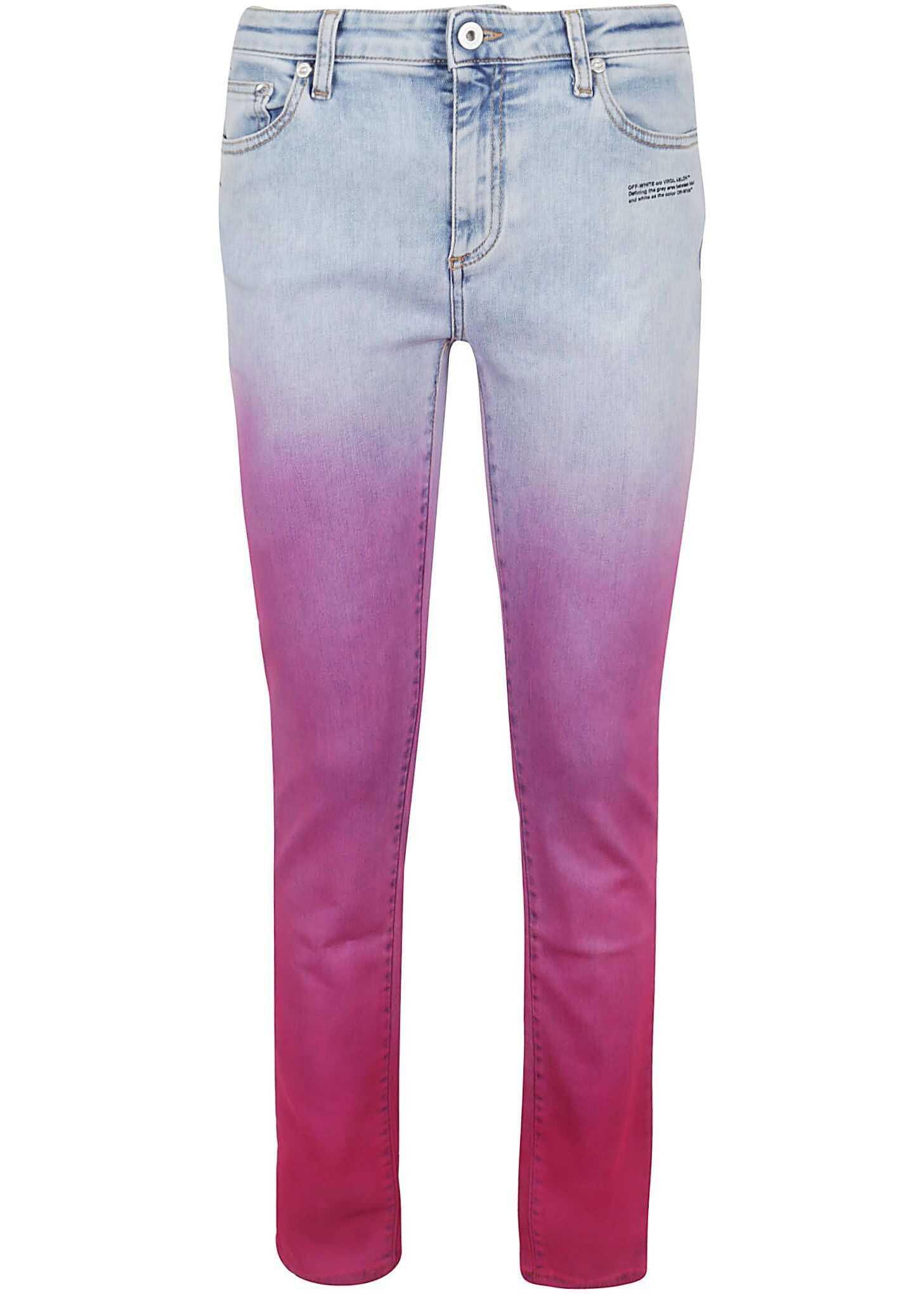 Off-White Cotton Jeans FUCHSIA