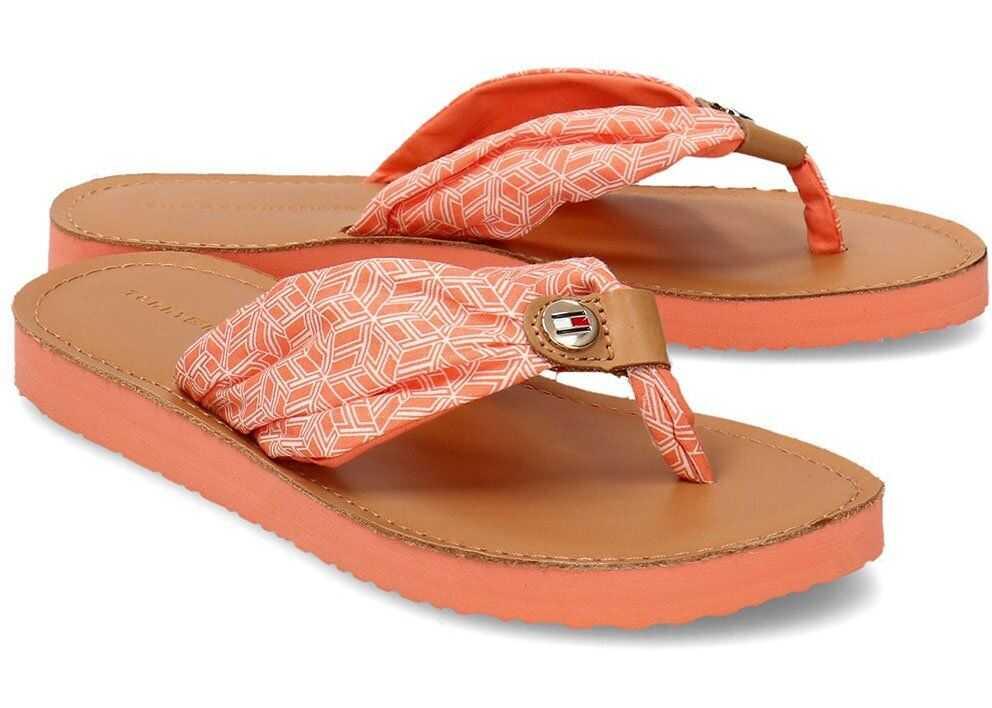 Tommy Hilfiger TH Monogram Flat Beach Sandal Pomarańczowy