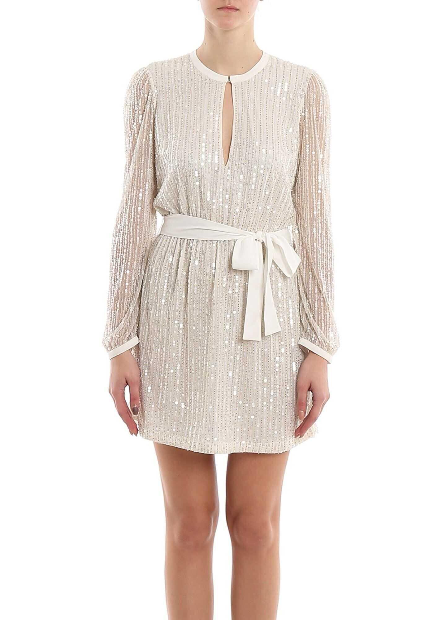Twin-set Simona Barbieri Embellished Short Dress Cream