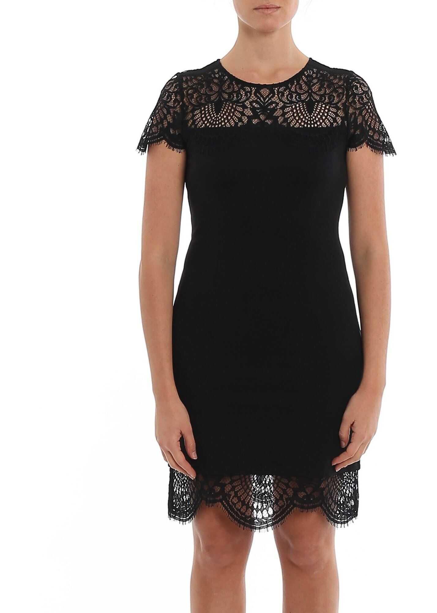 Twin-set Simona Barbieri Jersey And Lace Dress Black