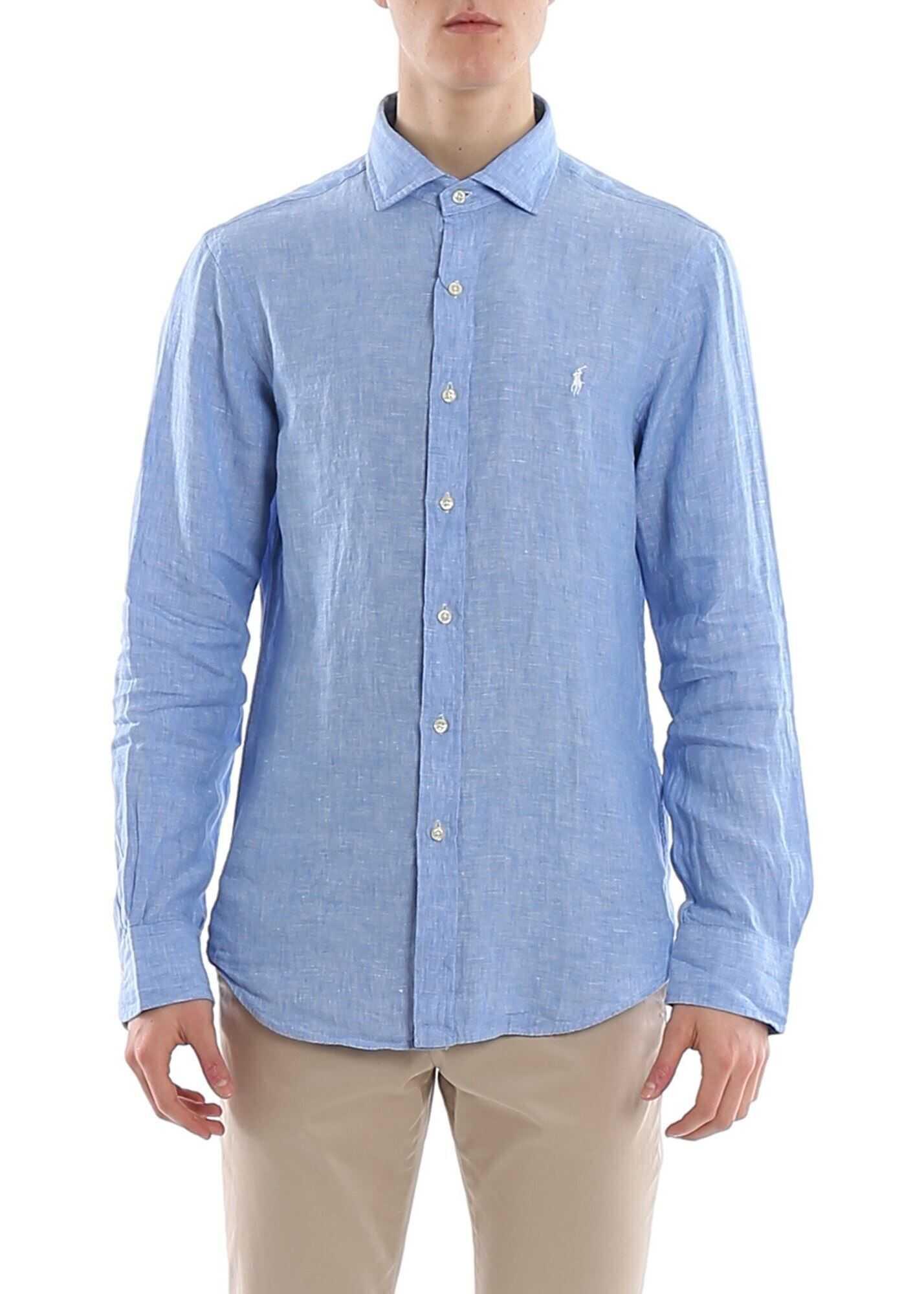 Ralph Lauren Iconic Logo Shirt In Light Blue Light Blue imagine