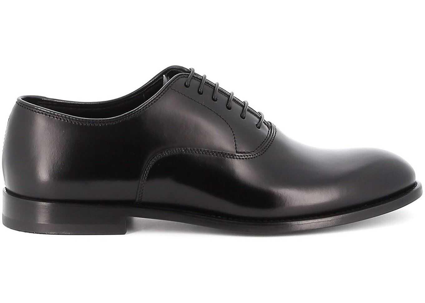 Doucal's Brushed Leather Black Oxford Shoes DU2630YORKUF028NN00 Black imagine b-mall.ro