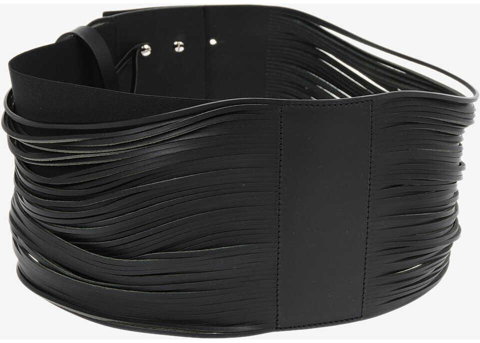 Maison Margiela 150mm leather belt BLACK