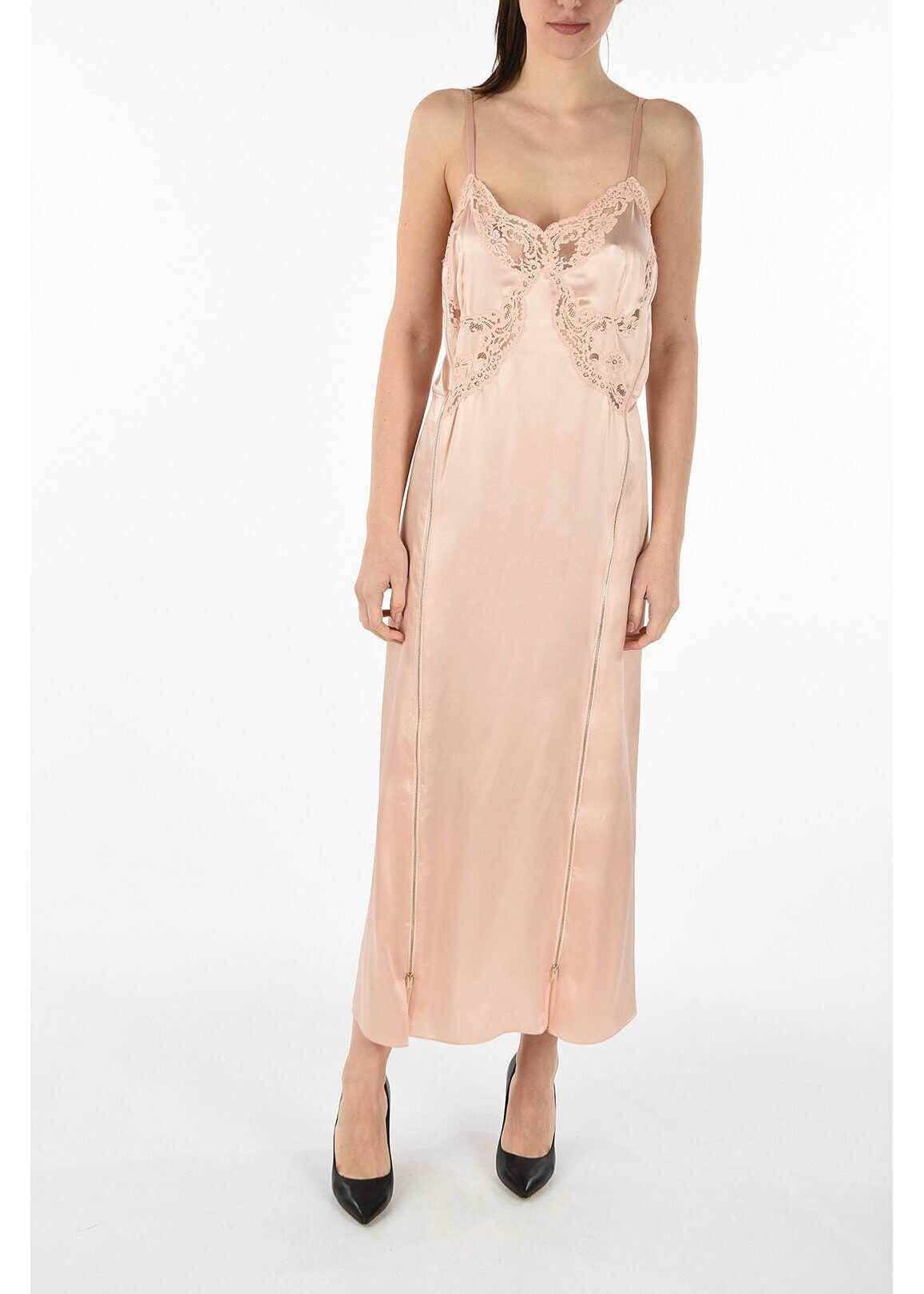 adidas by Stella McCartney silk dress with lace details PINK