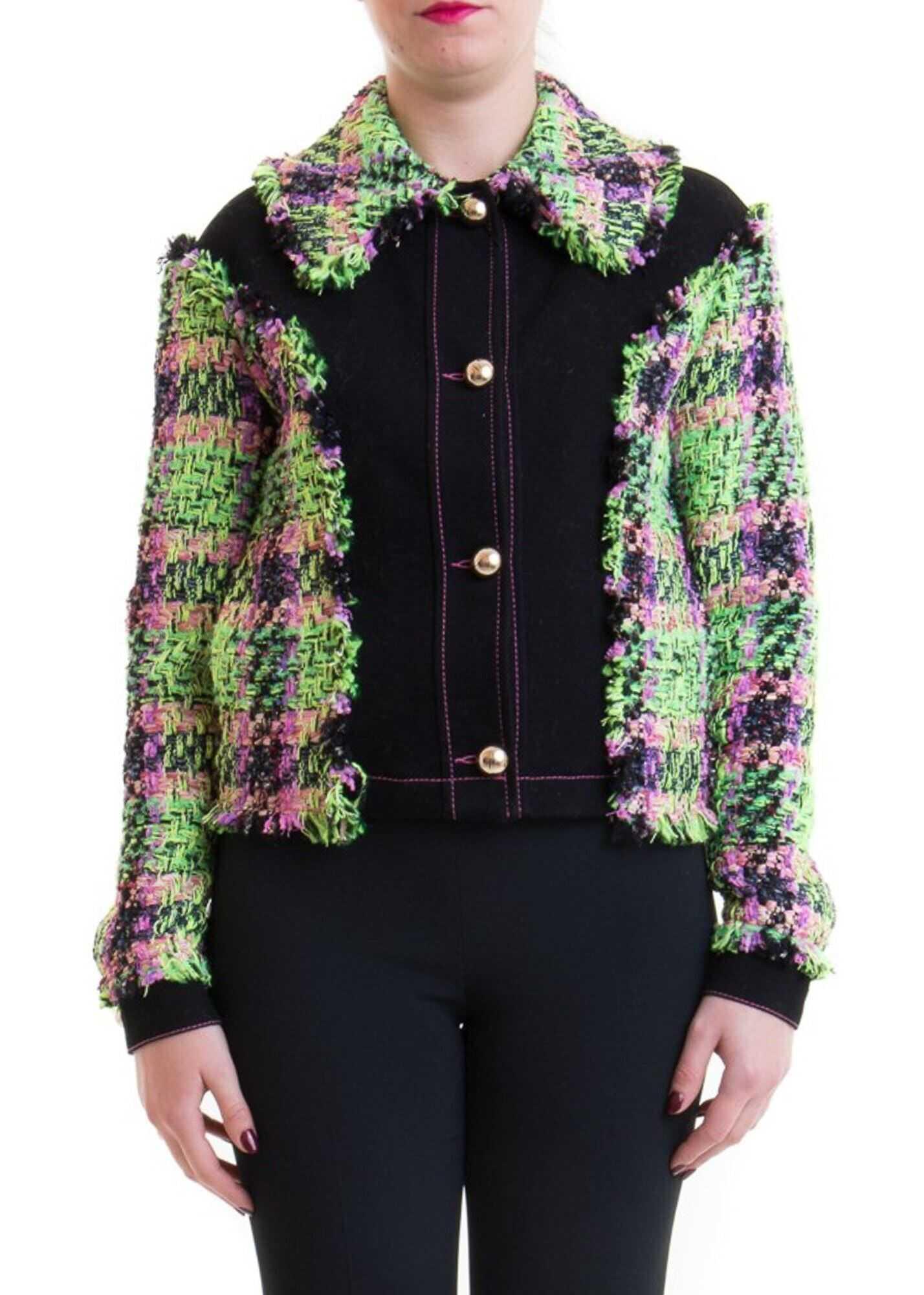 Blumarine Tweed Patchwork Jacket Black