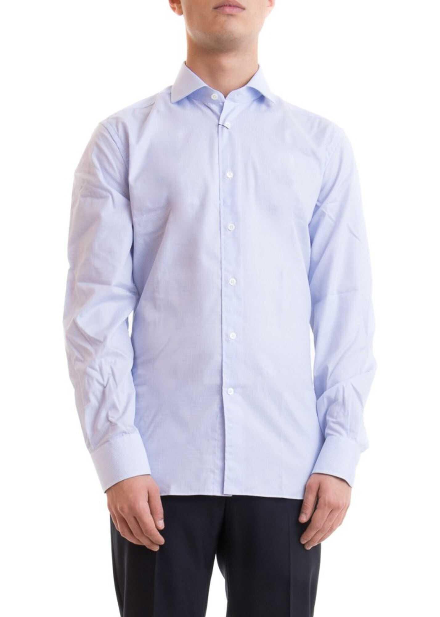 CORNELIANI Logo Patch Check Print Cotton Shirt Light Blue imagine