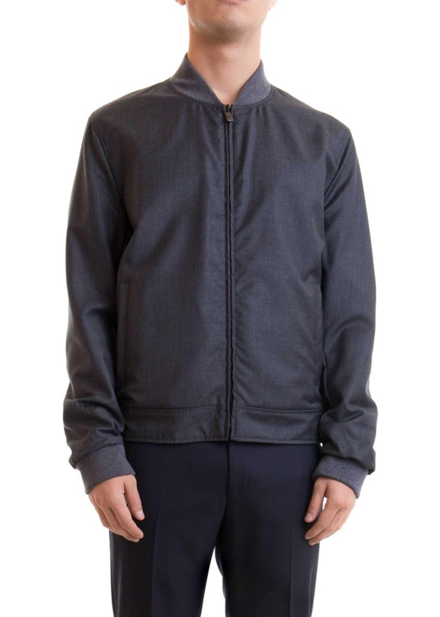 CORNELIANI Reversible Leather Jacket Grey imagine