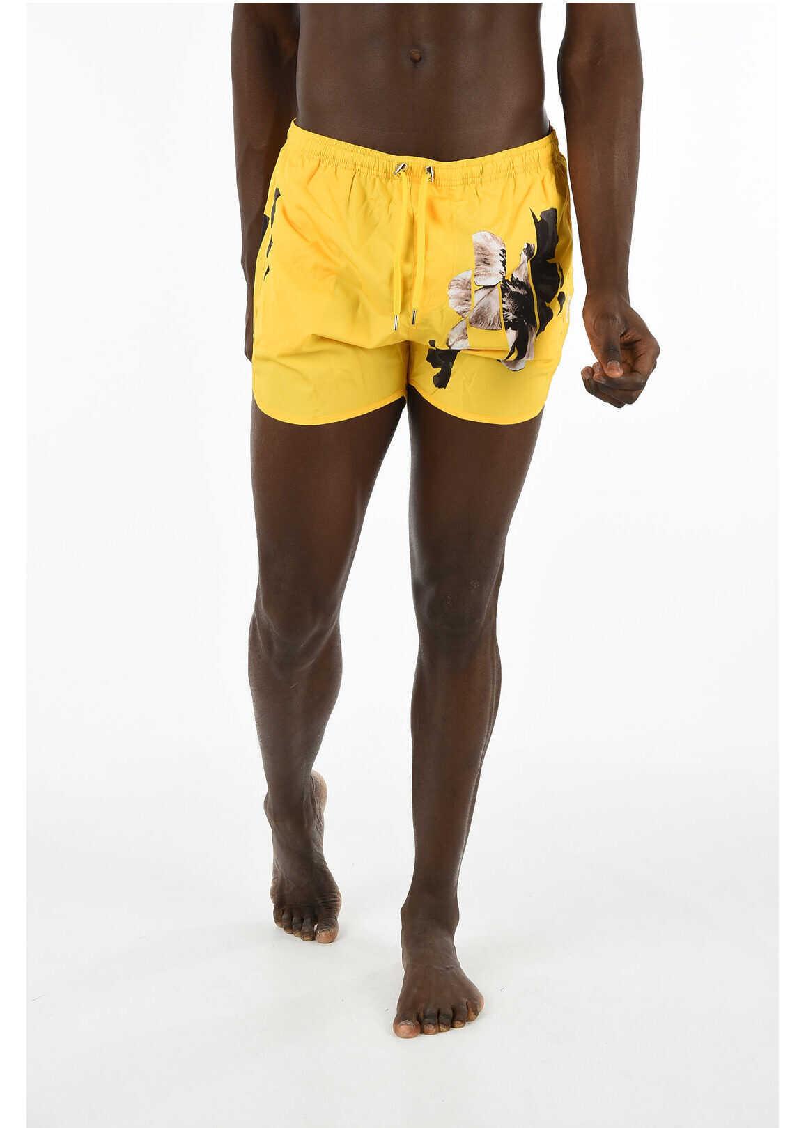 Neil Barrett floral-print boxer beachwear YELLOW imagine