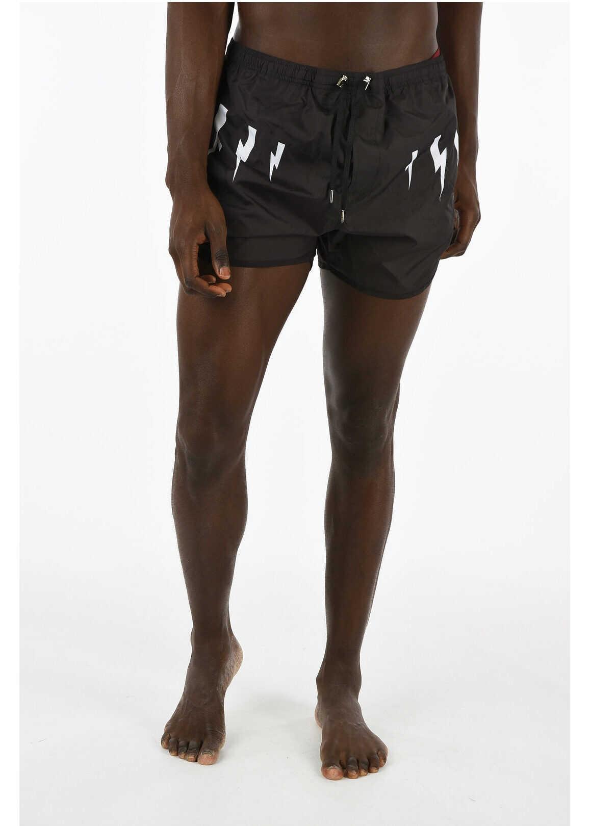 Neil Barrett Thunder printed boxer beachwear BLACK