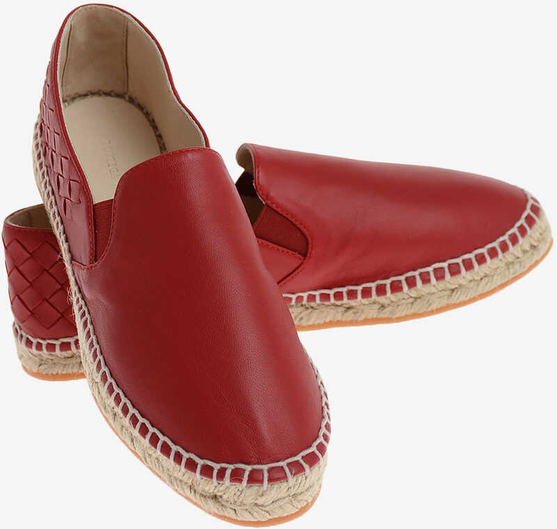 Bottega Veneta Leather Espadrilles RED
