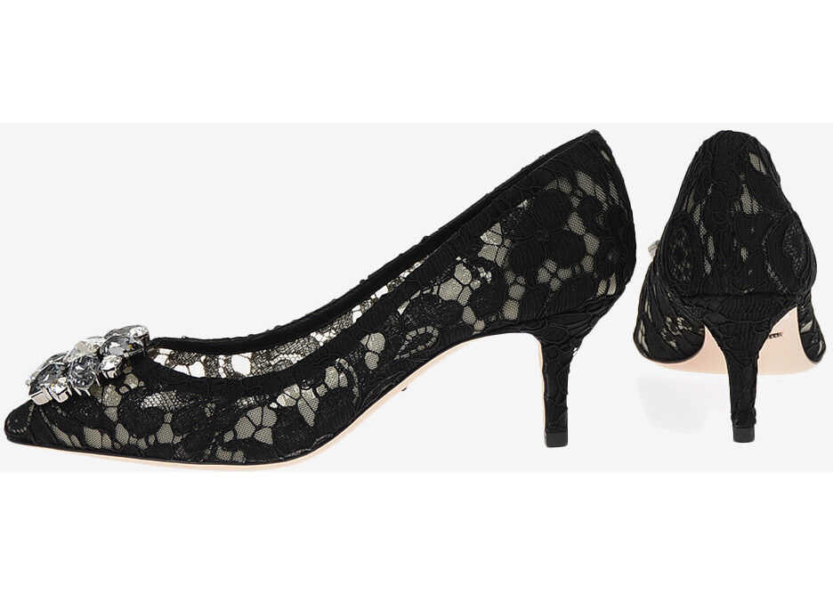Dolce & Gabbana Lace BELLUCCI Pumps with Jewel Application 7 cm BLACK imagine b-mall.ro