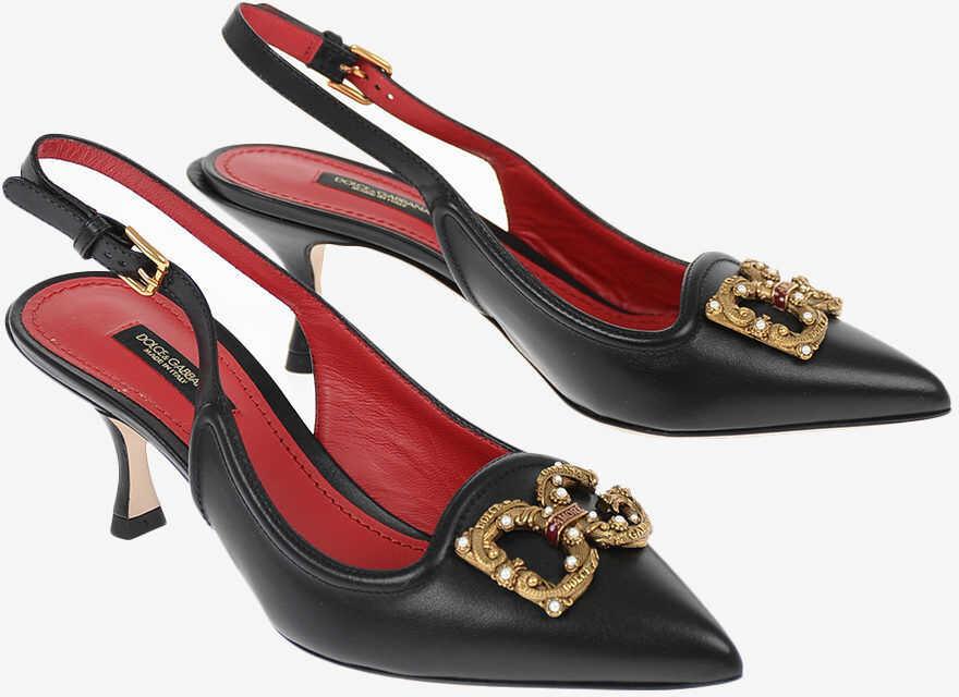 Dolce & Gabbana Leather DG AMORE Slingbacks 7 cm BLACK