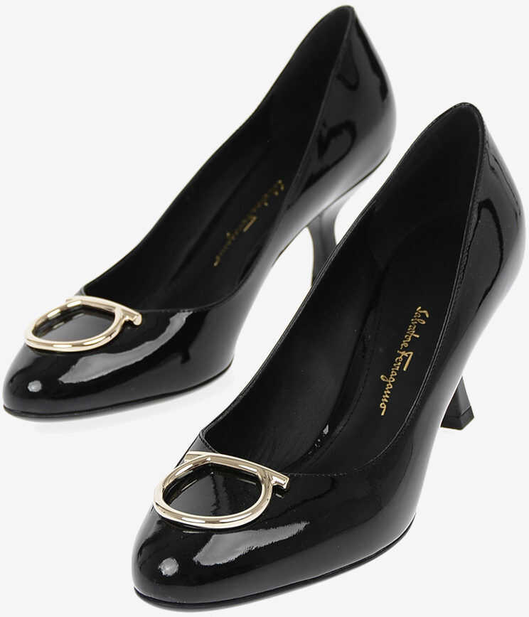 Salvatore Ferragamo Lacquered Leather SERINA Pumps 7 cm BLACK