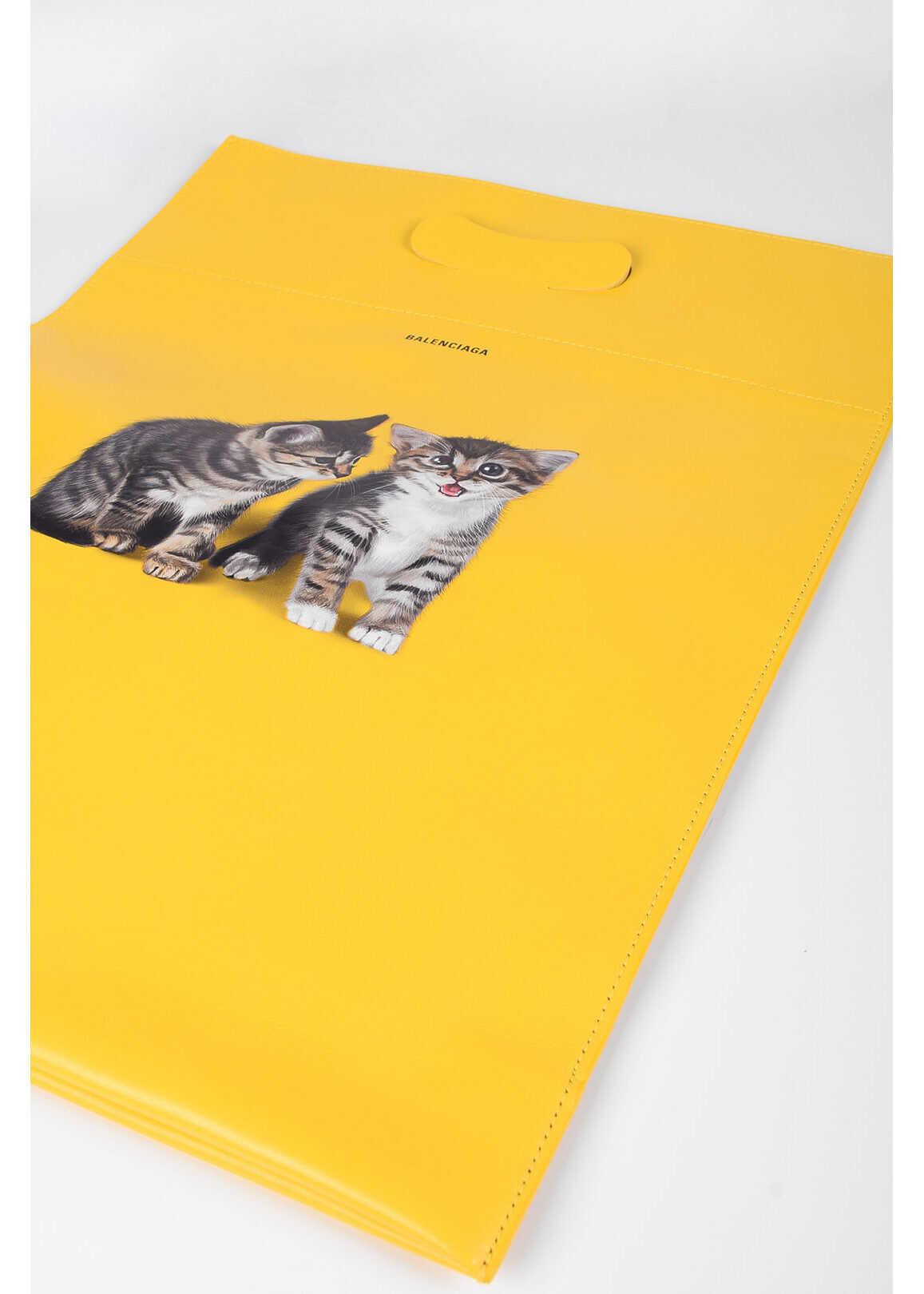 Balenciaga Leather KITTEN SUPERMARKET Tote Bag YELLOW