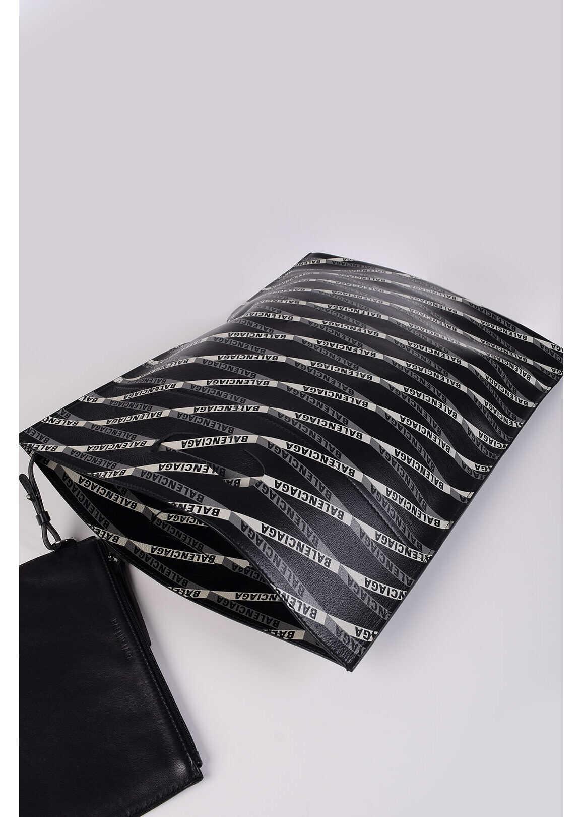 Balenciaga Monogram Leather SUPERMARKET Tote Bag BLACK