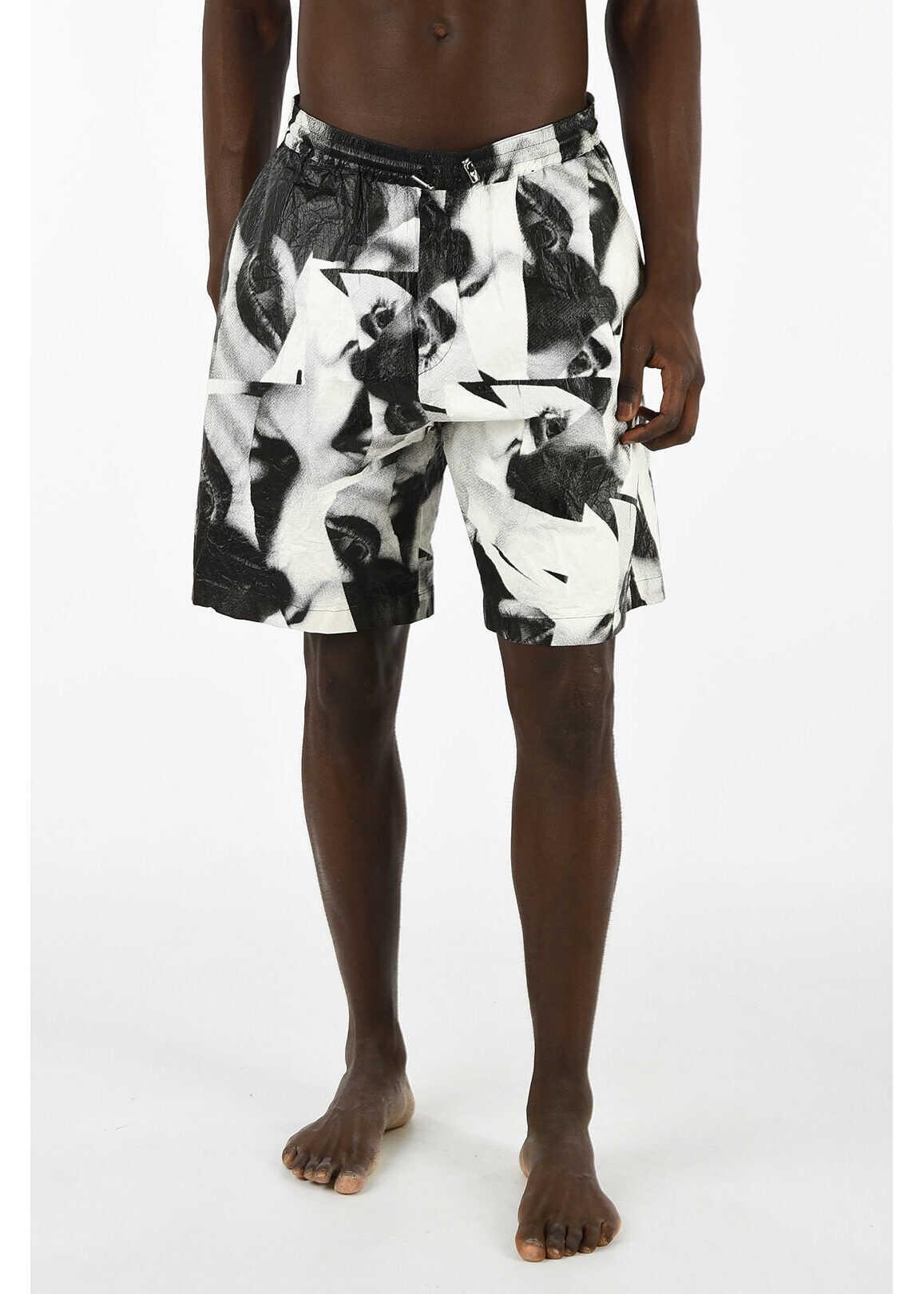 DSQUARED2 MERT & MARCUS 1994 Printed Short Beachwear BLACK & WHITE