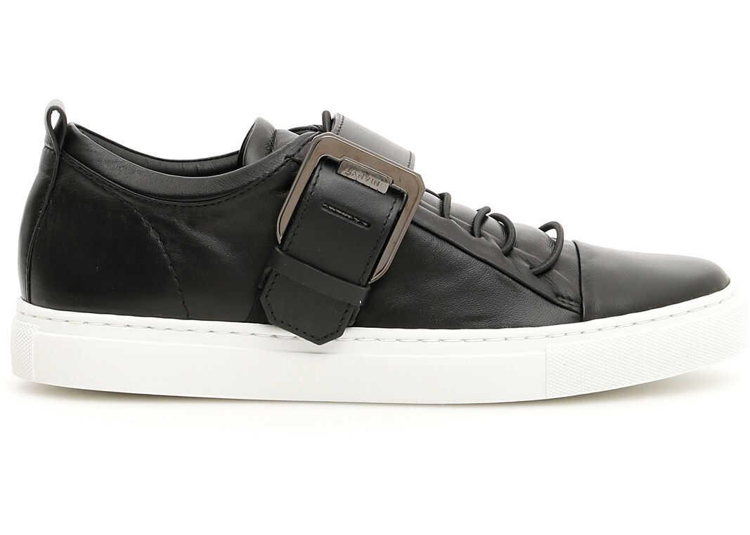 Lanvin Square Buckle Nappa Sneakers BLACK