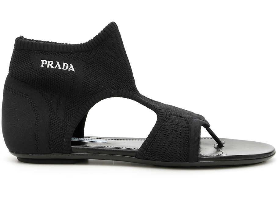 Prada Stretch Sock Sandals With Logo NERO