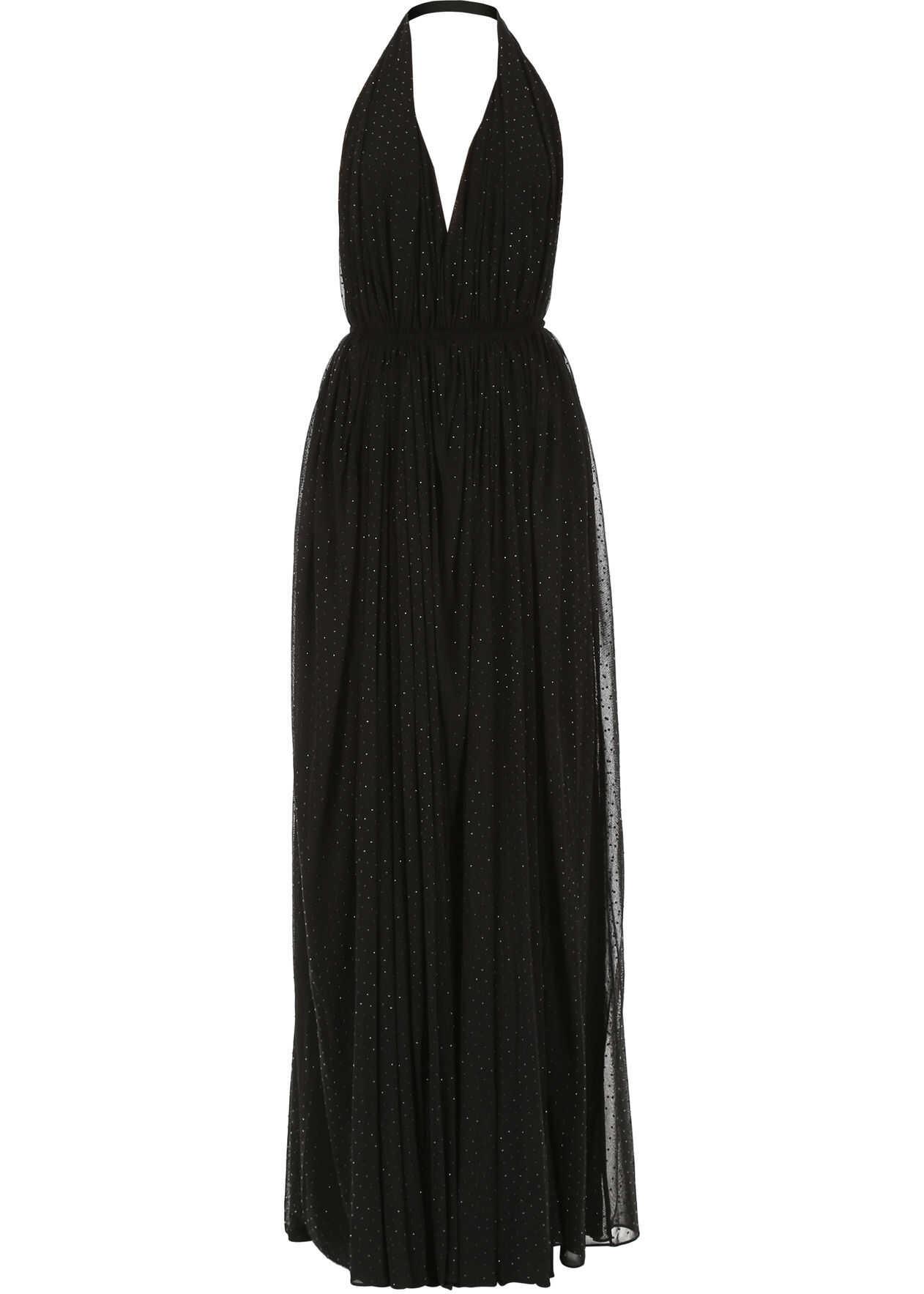 Saint Laurent Crystal Evening Dress NOIR BRILLANT