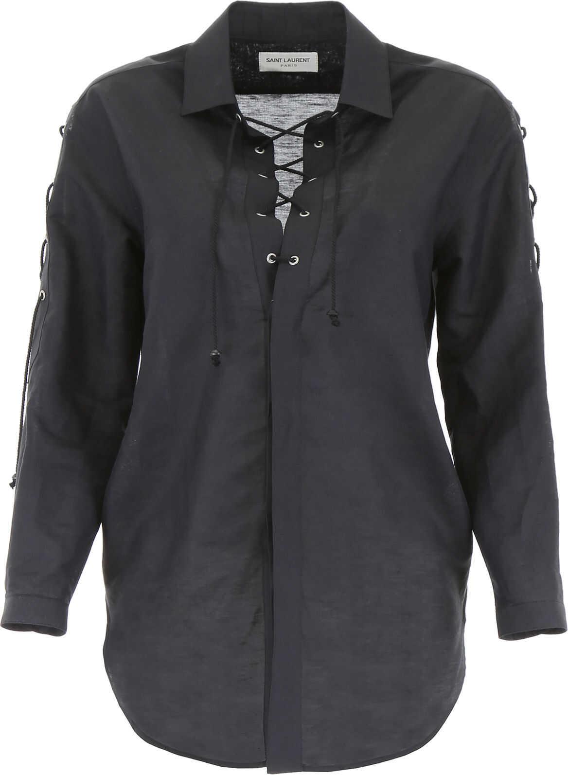Saint Laurent Shirt With Laces NOIR
