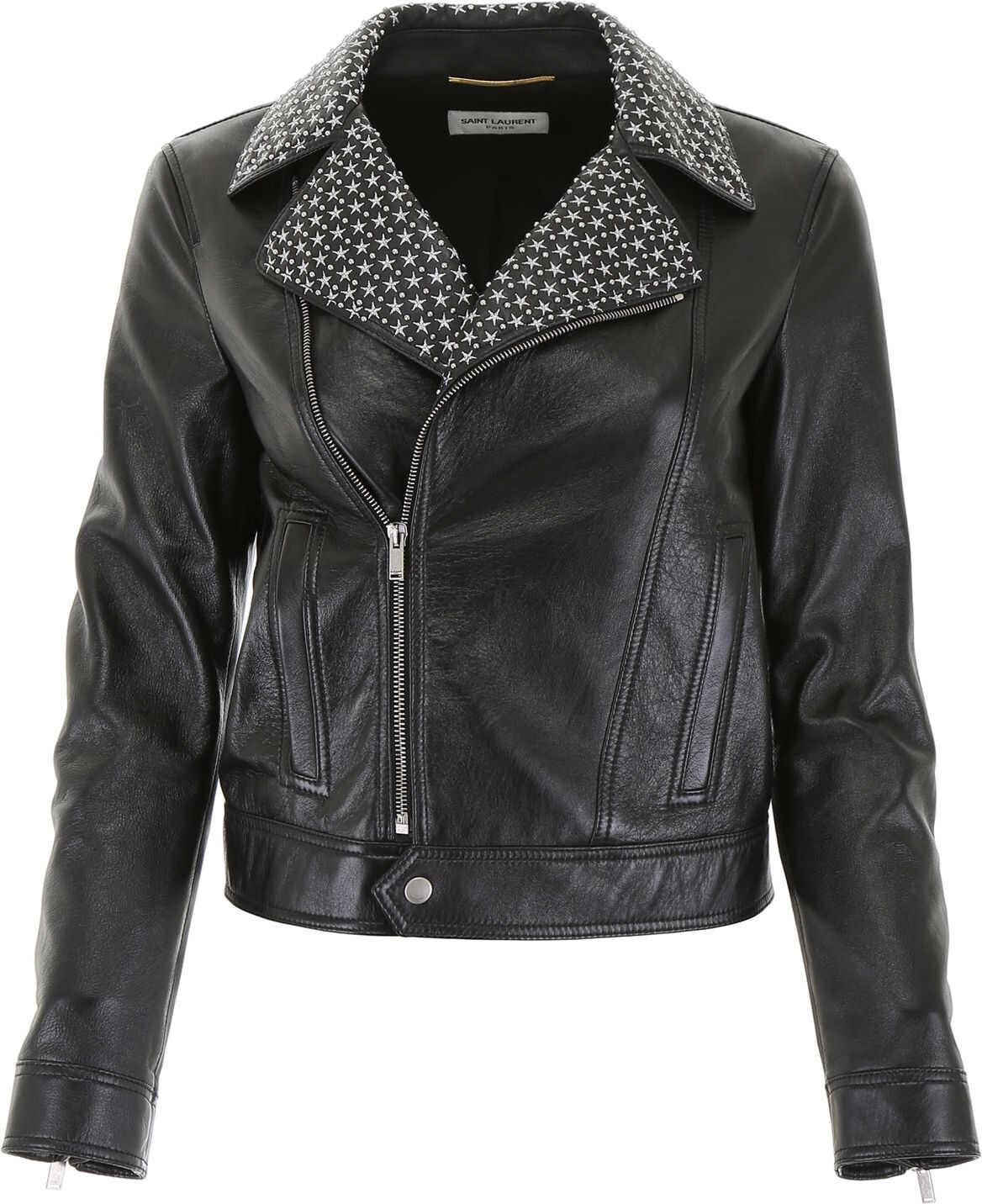 Saint Laurent Leather Jacket NOIR ARGENT