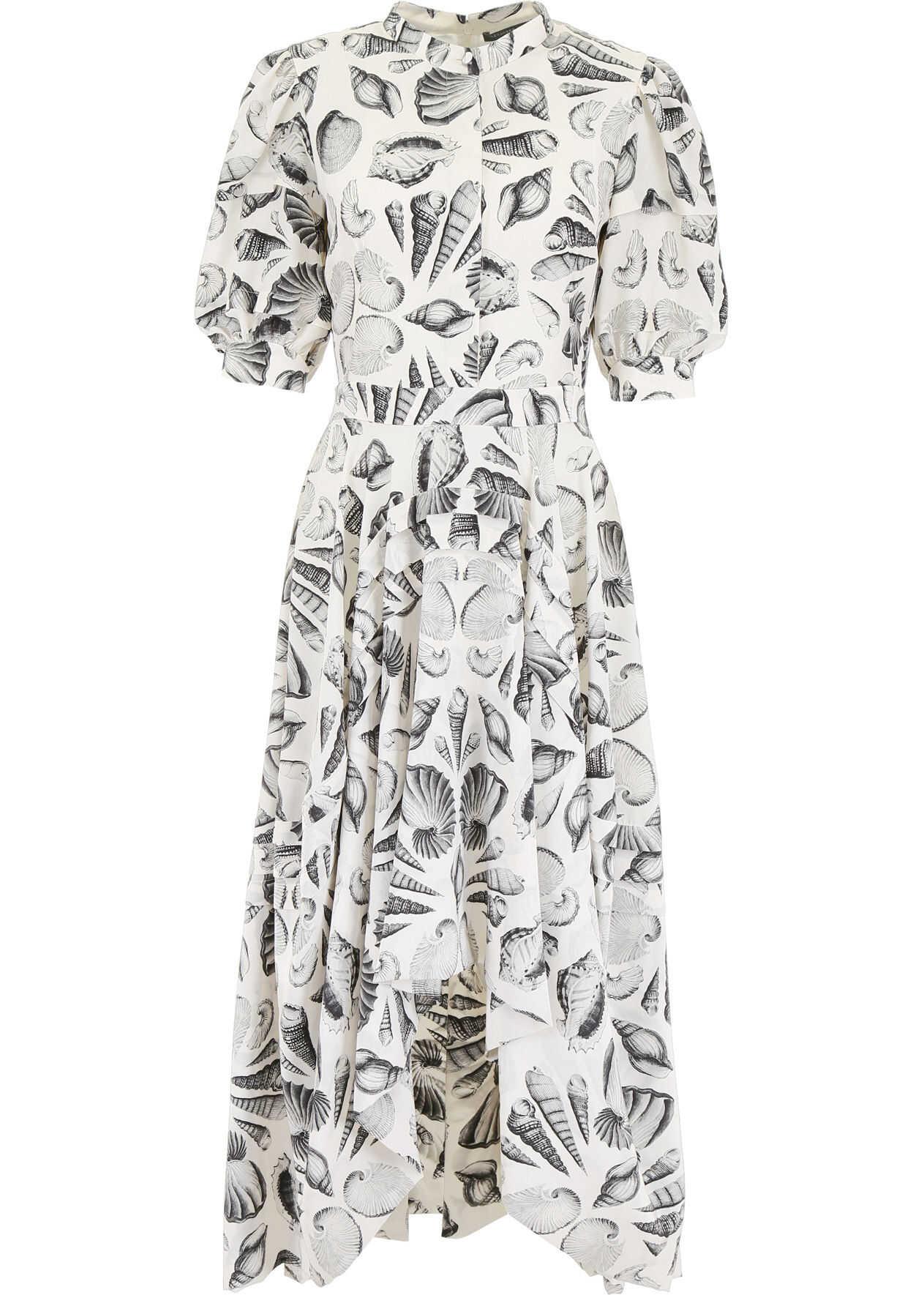 Alexander McQueen Shell Print Dress IVORY BLACK