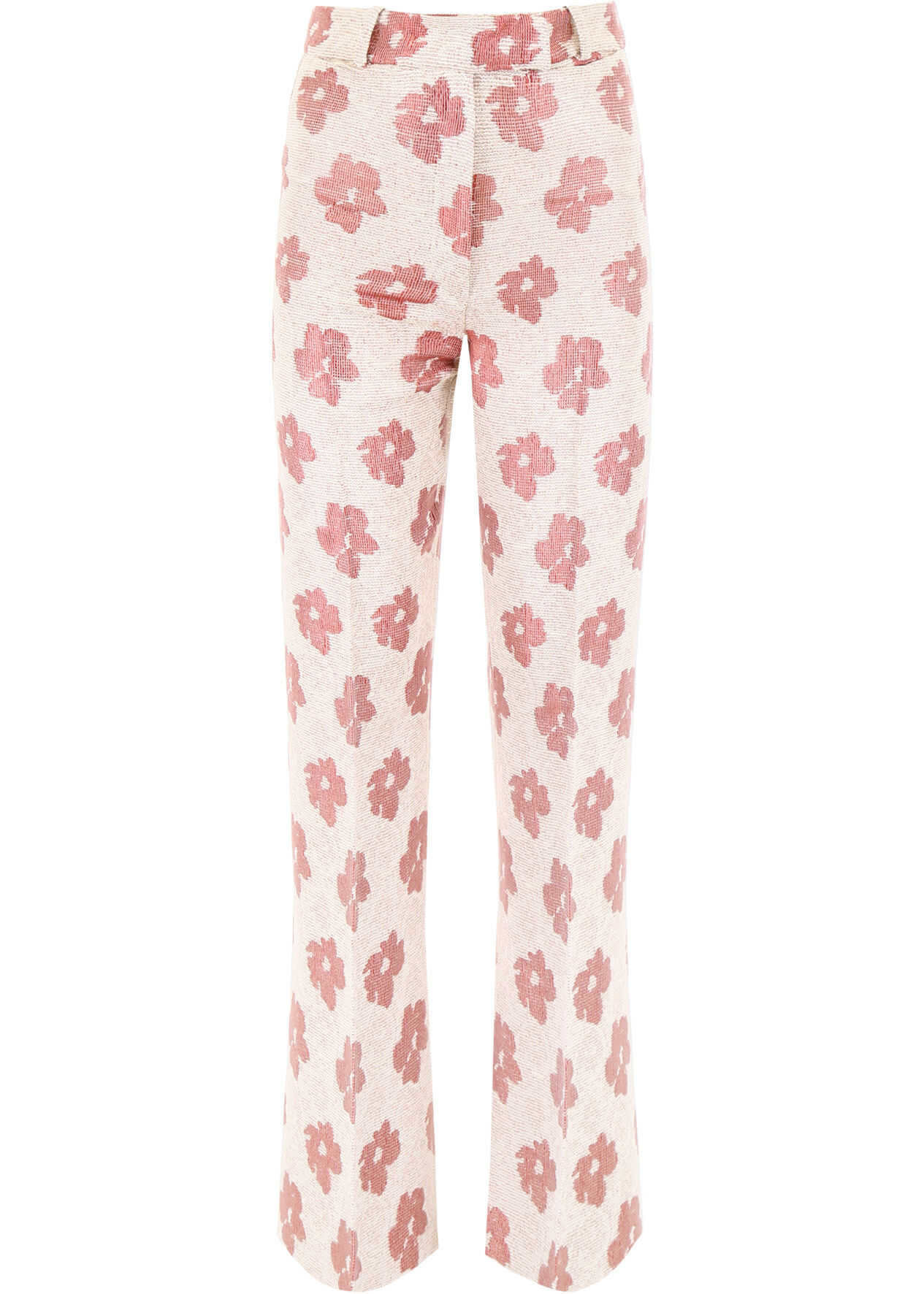 Golden Goose Floral Printed Palazzo Trousers WHITE PINK
