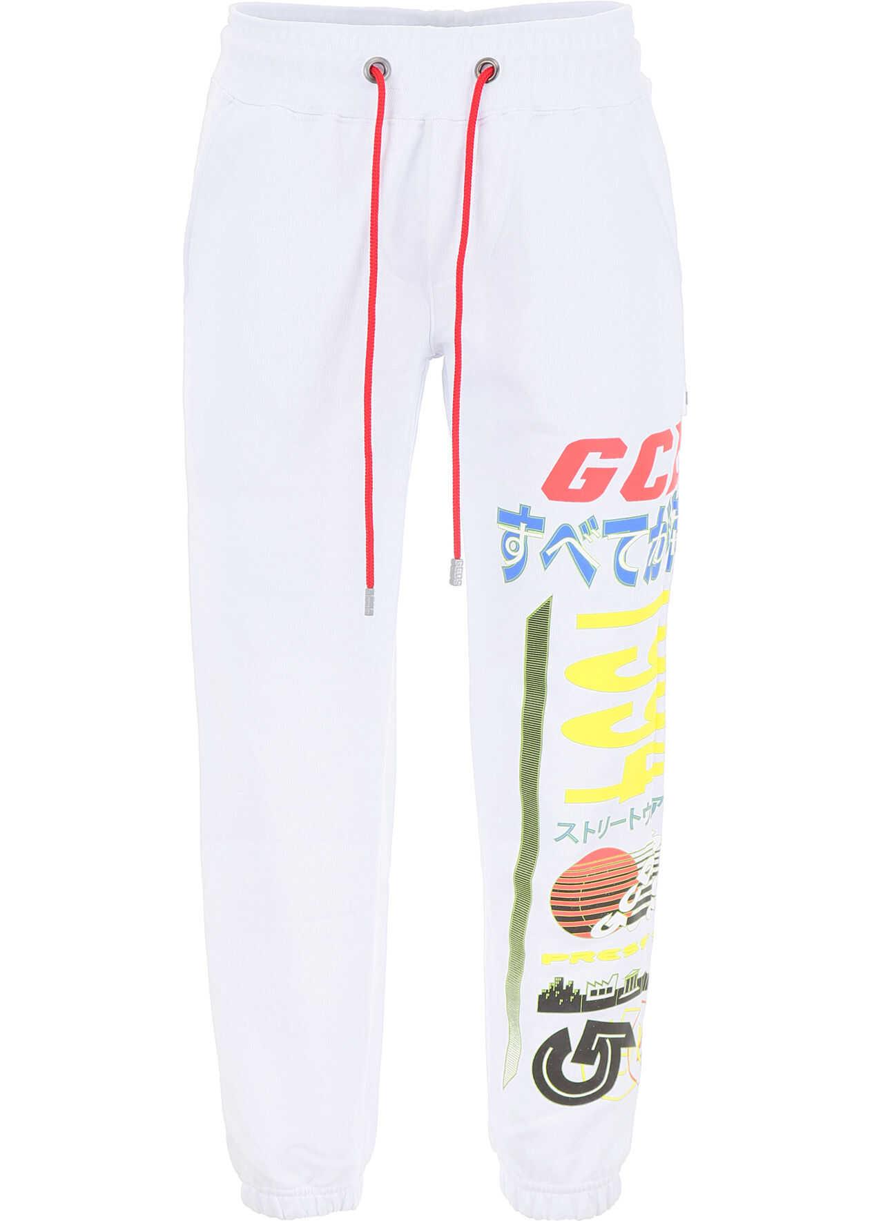 GCDS Multi Logo Joggers WHITE
