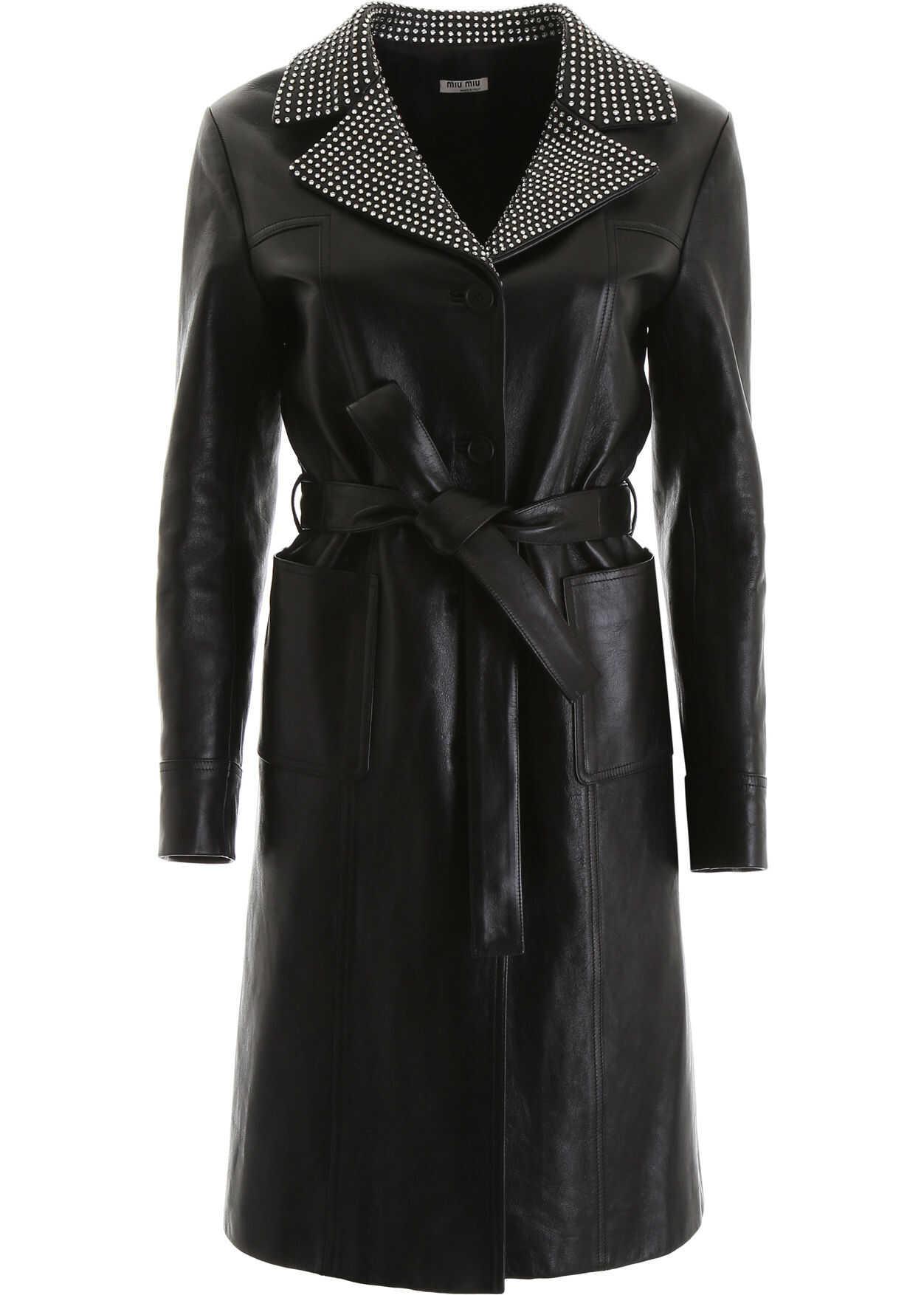 Miu Miu Leather Coat With Crystals NERO