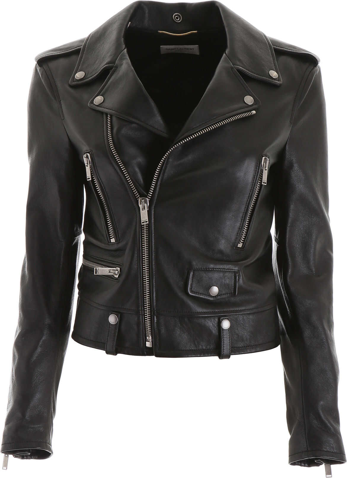 Saint Laurent Printed Leather Jacket NOIR ARGENT
