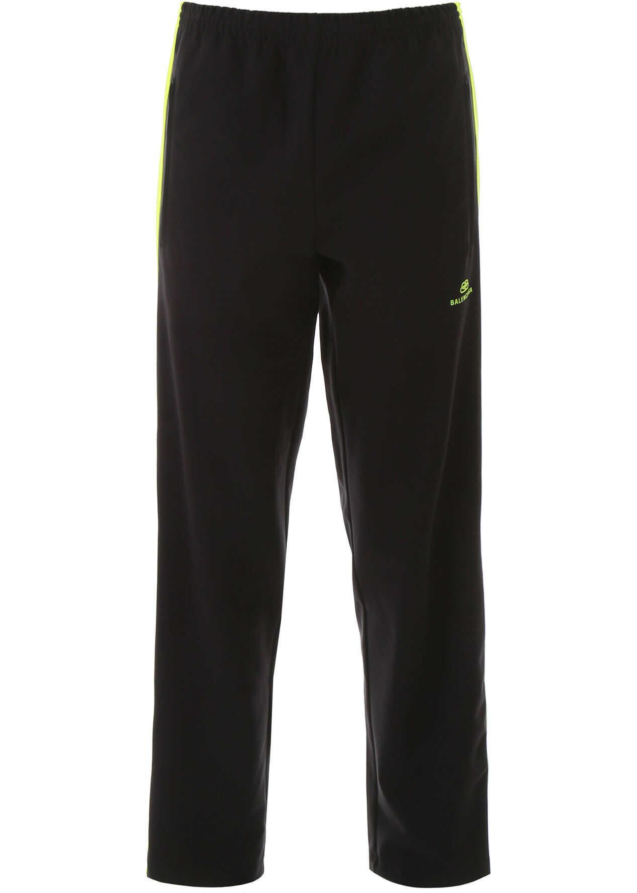 Balenciaga Jersey Joggers BLACK FLUO YELLOW