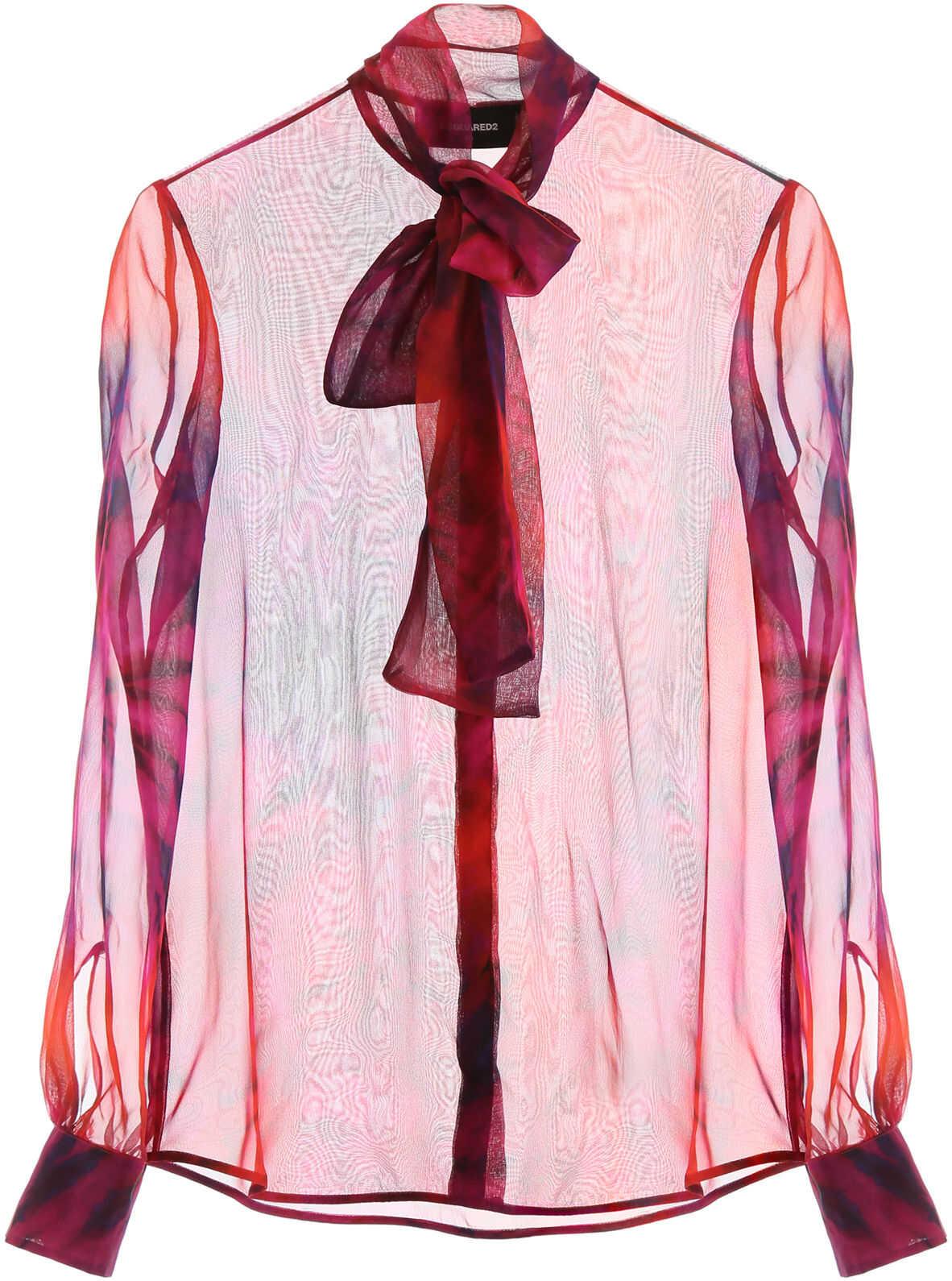 DSQUARED2 Tie-Dye Silk Shirt FUXIA MIX COLOR