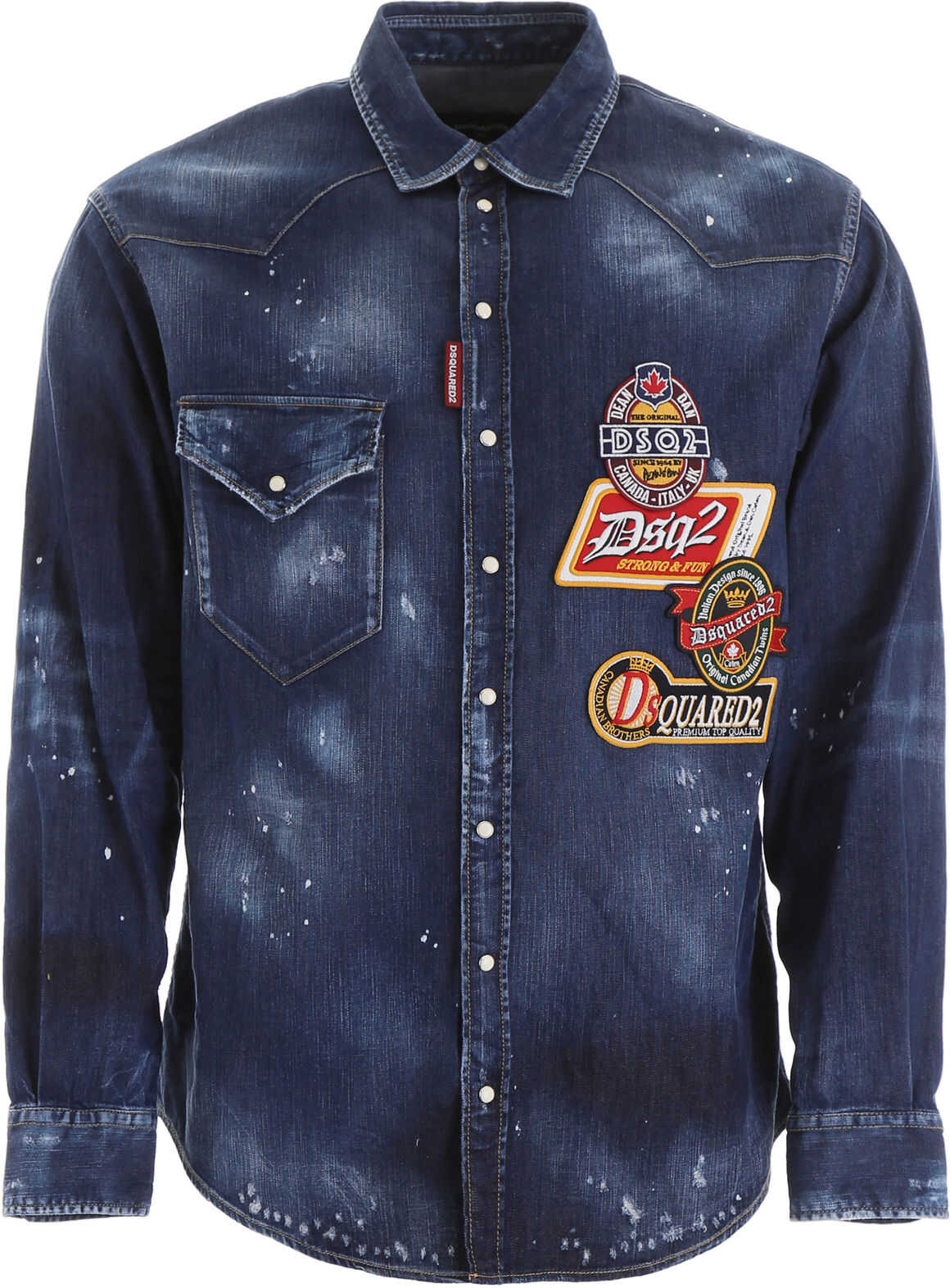 DSQUARED2 Multi-Patch Denim Shirt BLUE
