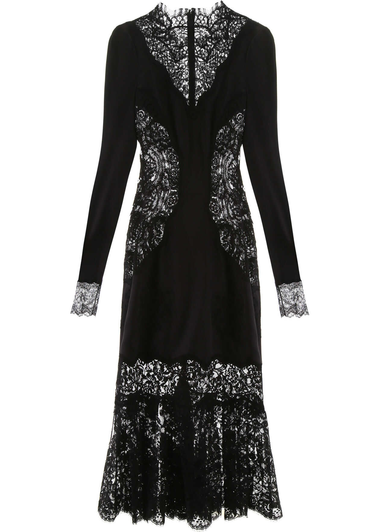 Dolce & Gabbana Satin And Lace Dress NERO